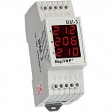 ВМ-3 (white), трехфазный цифровой вольтметр DigiTop, 40 - 400V AC