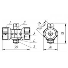 Кран 3-х ходовой Ду-15 Ру16 б/ручки 11б18бк(у) G1/2 на входе, М20х1,5 на выходе