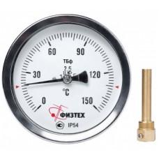 Термометр биметаллический ТБф-120 0…120C° кл.т.2,5 IP54 d.63 L64*11мм. ГЛ G1/2 ОШ*8