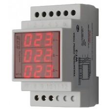 WT- 3-75 трехфазный, для работы с трансформаторами тока 30/5, 40/5, 50/5, 75/5, 3 модуля, монтаж на