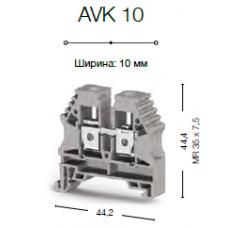 Клеммник на DIN-рейку 10мм.кв. (серый); AVK10
