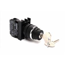 B100AC20 Кнопка с ключом 0-1, ключ вынимается в положениях 0 и 1 (1НО)