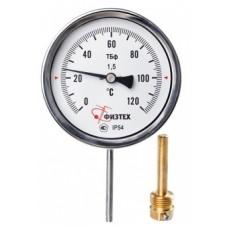 Термометр биметаллический ТБф-120 0…120C° кт.1,5 d.100 IP54 РШ*6 ГЛ G1/2 L64*9